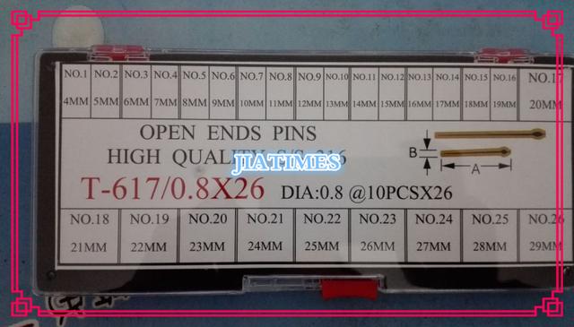 Frete Grátis 260 pcs 0.8mm de Diâmetro de Alta Qualidade de Aço Inoxidável Pinos de Extremidades Abertas a partir do Tamanho 4mm a 29mm