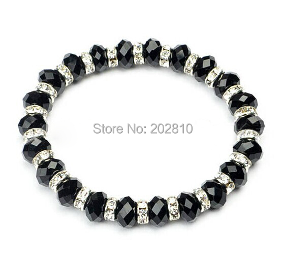 Fine quality trendy Black ceometric 10mm crystal bracelet, handmade bezel setting set auger crystal bracelet silver-plated  - buy with discount