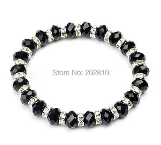 {Fine quality trendy Black ceometric 10mm crystal bracelet, handmade bezel setting set auger crystal bracelet silver-plated
