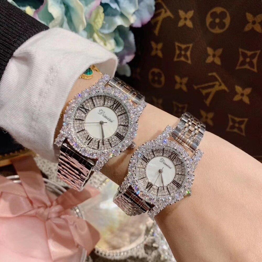 2 tailles classique numéro romain femmes affaires montres de luxe strass Bracelet montre Quartz Shell visage analogique diamant montre-Bracelet - 2