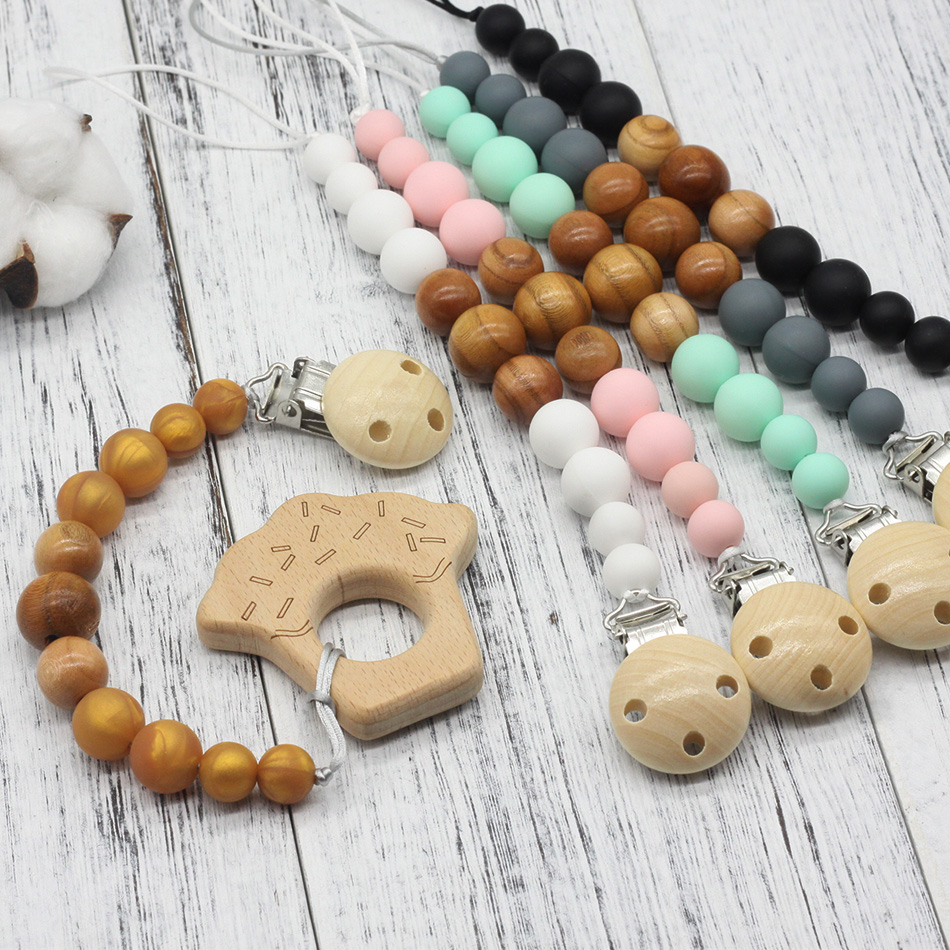 Teething Bracelet Set Can Chew Wood Beads Play Gym Stroller Toy Pram Baby Gifts Wooden Teether