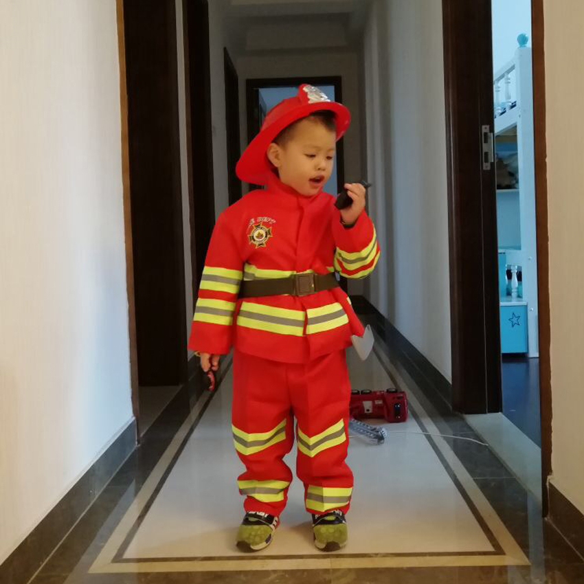 100-160 Fancy Carnival Purim Children Halloween Firemen Cosplay Costume Kid Party Wear Unisex Firefighter Uniform with Helmet