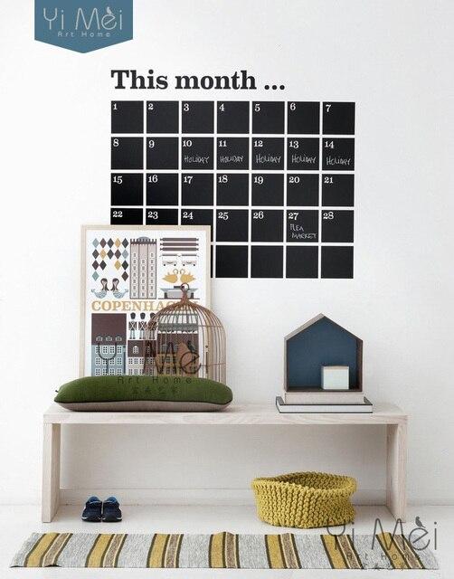 diy monthly chalkboard calendar vinyl wall decal removable planner