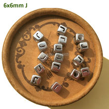 6mm 2750pcs Silver plated Acrylic Cube Alphabet Letter J Beads Diy Jewelry Findings Accessories