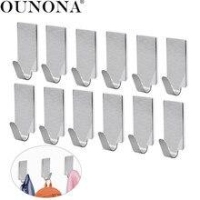 OUNONA 12pcs Stainless Steel Adhesive Door Hook  kitchen Hooks Wall Hanger Towel Hooks Wall Hooks for Kitchen Bathroom