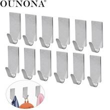лучшая цена OUNONA 12pcs Wall Hooks Stainless Steel Adhesive Towel Hook Wall Hanging Hanger Key Coat Hat Hooks Door Kitchen Bathroom Hook