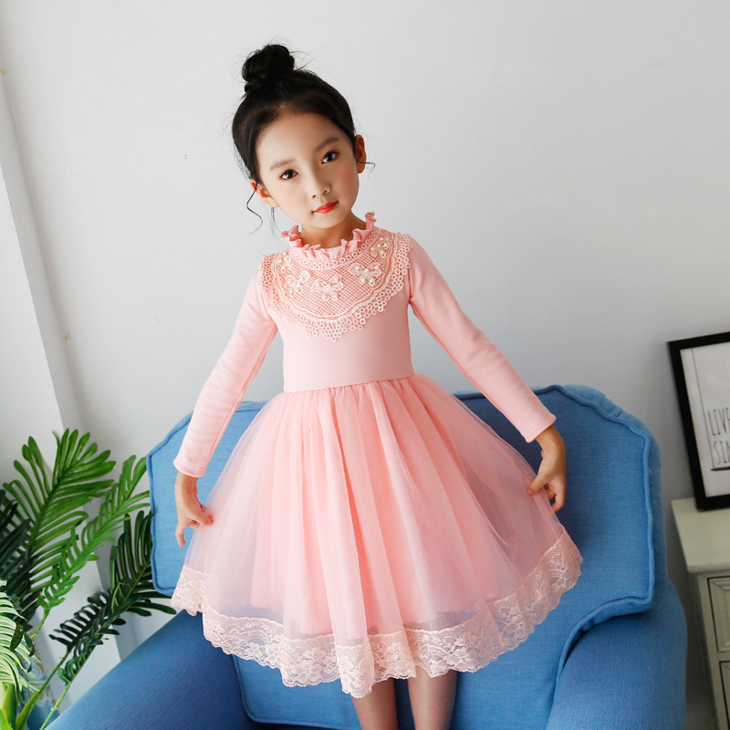 New Autumn Long Sleeve Pearls Flowers Girl Party Dress Wedding Birthday Girls Dresses Tutu Style Princess Clothes for 3-10T кисть revell 2 page 2