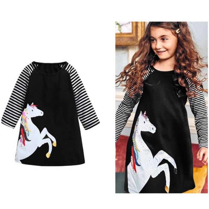 Dresses Hospitable Baby Girls Horse Print Dresses Kids Girl Striped Long Sleeve Dress Christmas Dress For Girls Party Casual Vestido Sz02 Mother & Kids