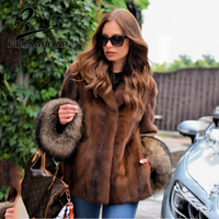 FURSARCAR New Fashion Real Mink Fur Coat Women Genuine Leather Jacket With Natural Raccoon Fur Cuff Luxury Mink Fur Outwear