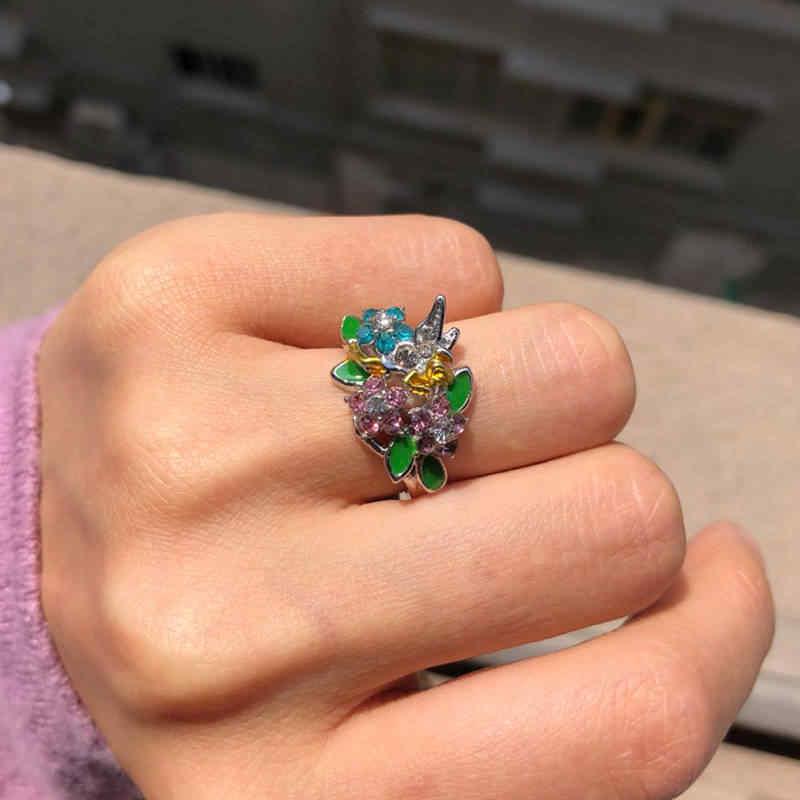 ดอกไม้แฟนตาซี Fairy Angel แหวนผู้หญิงแหวนคริสตัลแองเจิลปีกแฟชั่นเครื่องประดับหมั้นของขวัญ