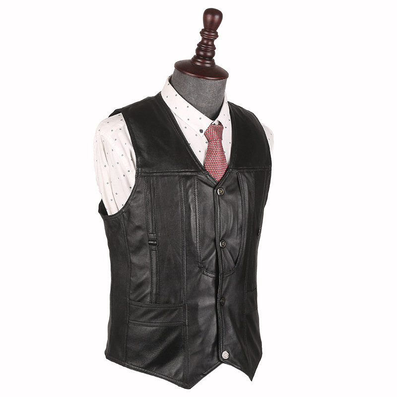Vests & Waistcoats Liberal During The Spring And Autumn 2018 Men Leather Vest Sheep Leather Vest Fashion Leisure V-neck Leather Vest