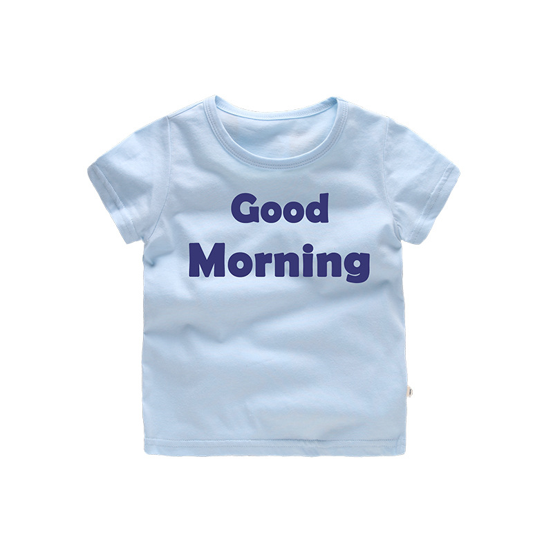 Casual Summer Good Morning Print Kids Tees Cotton Baby Boys T-Shirts For Age 2-8 Years Old