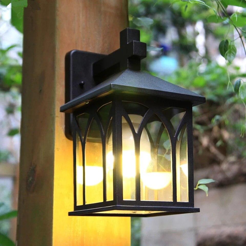 HAWBOIRRY europejskiej zewnętrzne oświetlenie LED balkon wodoodporna rdzy ścienne lampa ogrodowa willa klasyczny retro korytarz światła w Zewnętrzne lampy ścienne od Lampy i oświetlenie na HAWBOIRRY Direct sales Store