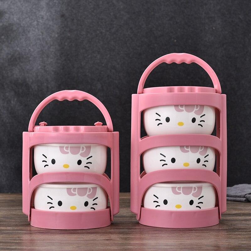 Boîte à Lunch en céramique portative de la boîte 4 Hello Kitty de pièces/ensemble avec des sacs d'isolation Thermos pour la nourriture
