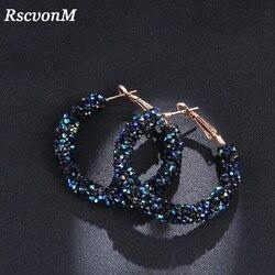 RscvonM новый дизайн, модный очаровательный австрийский хрусталь, серьги-кольца, геометрические круглые блестящие стразы, большие серьги, ювел...