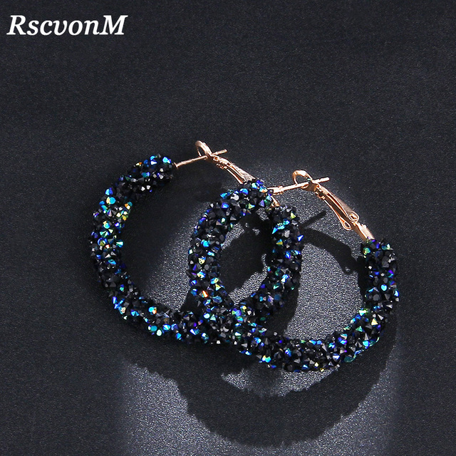 RscvonM Brand New Design Fashion Charm Oostenrijkse kristal hoepel oorbellen Geometrische Ronde Shiny rhinestone grote oorbel sieraden vrouwen
