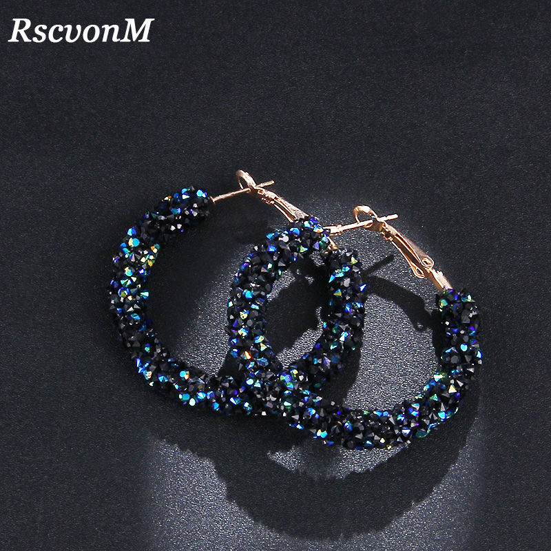 RscvonM новый дизайн бренда Модные очарование австрийского хрусталя обруч серьги геометрической круглыми блестящими стразами большие серьги украшения женские