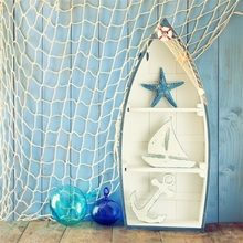 Laeacco Summer Backdrops Surfboard Ship Fishnet Starfish Anchor Wooden Floor Baby Portrait Photographic Background Photo Studio