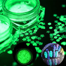 1 Box Fluorescent Luminous Nail Art Sequins Heart Moon Flower Pattern Ultra-thin Flakes Power Glow in the Dark Nail Tips Decor(China)