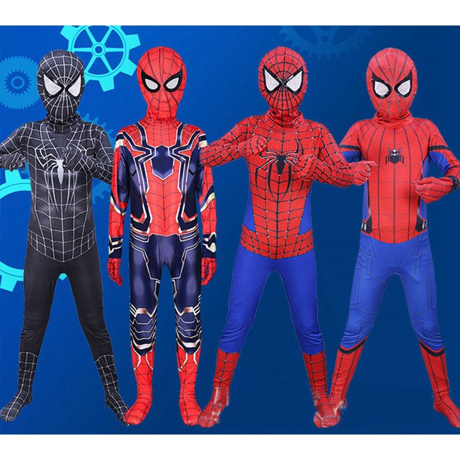 Superhero Spider Man Costume Spiderman Cosplay Bodysuit Wear Clothing With Mask