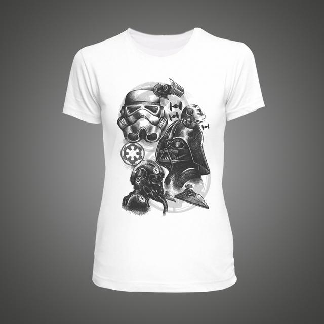 Star Wars Empire Sketch robot White Tshirt