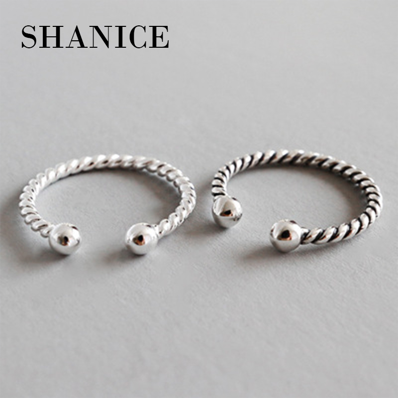 SHANICE Retro Old 925 Sterling Silver Open Ring For Women Braid Pattern Twist Rope Retro Style Do The Old Rings Bijoux Femme