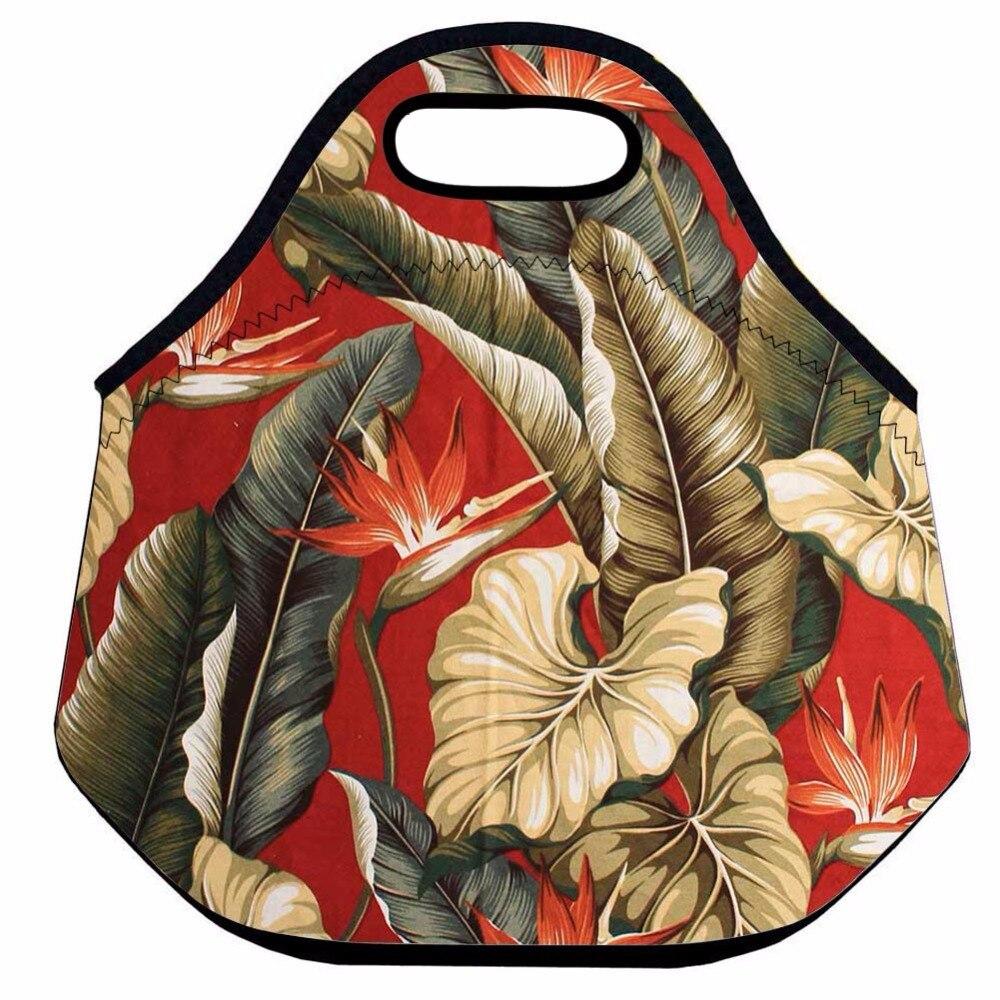Instantarts Red Lip Monkey Pattern Hiking Camping Picnic Bags Waterproof Neoprene Food Storage Bags Lunch Tote Handbag For Women Beautiful In Colour Picnic Bags