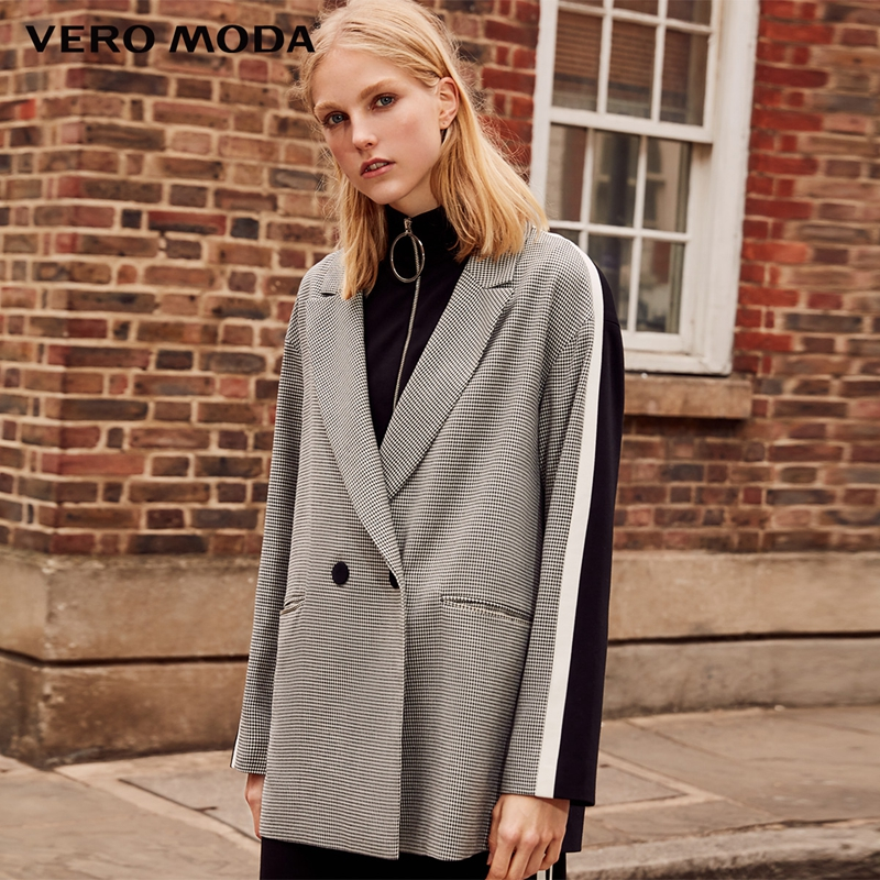 Vero Moda 2019 New Stripe Splice Knitted Houndstooth Suit Jacket Plaid Women Long Blazer|318308536