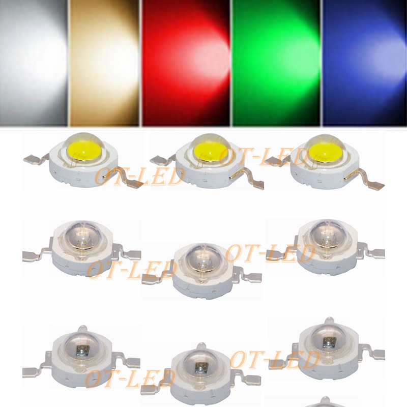50pcs/lot High Power led 1W 3W Bulbs 30mli 45mli 1W 3W LED chip RGB White Warm White Nature White Red Green Blue Light Source 1w led bulbs high power 1w led lamp pure white warm white 110 120lm 30mil taiwan genesis chip free shipping