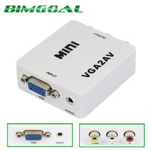 1080 P Mini VGA TO AV RCA VGA Kotak dengan 3.5 Mm Audio Jack VGA2AV Adaptor CVBS + Audio converter untuk HDTV PC(China)