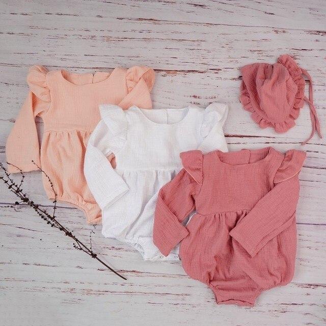 الخريف طفلة الملابس قميص قطني بكم طويل رومبير ل مولود جديد الشتاء البوتيكات الكتان Playsuit صور الدعائم الرضع الزي 5