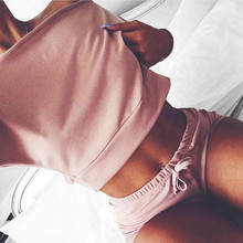 Solid color Knitted sexy two piece set women pink outfit tracksuit Slash neck Strapless shoulder hot shorts and long sleeve top