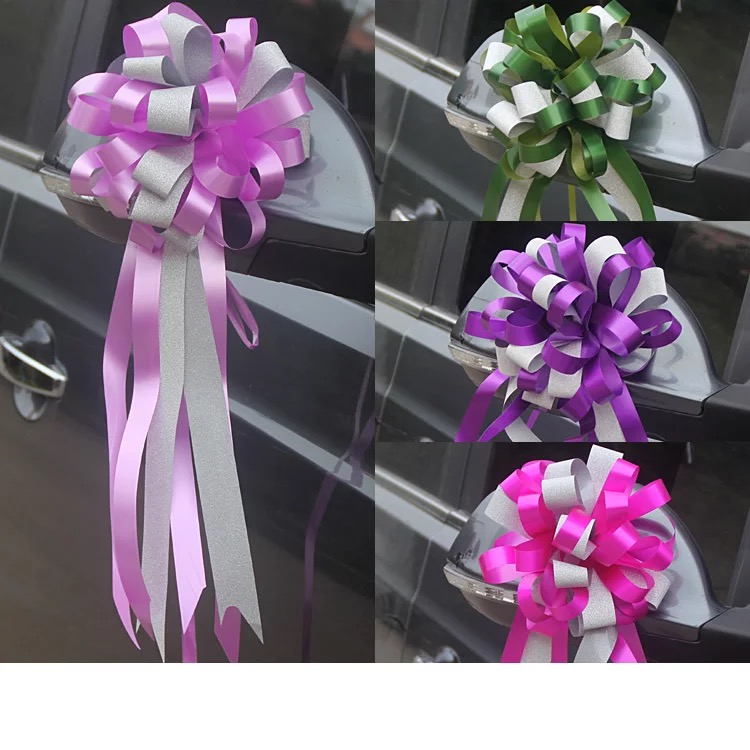 Beautiful luster 5.5x150cm large Pull Bow ribbon for Christmas Birthday Gift Wrapping Packing Party Wedding Car Decoration 20pcs