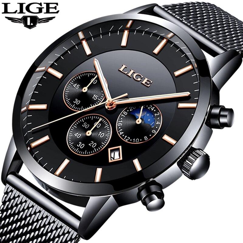 2019 LIGE Mens Relógios Top Marca de Luxo Militar Esportes Relógio dos homens Homens Casual Waterproof Quartz Relógio De Pulso Relogio masculino