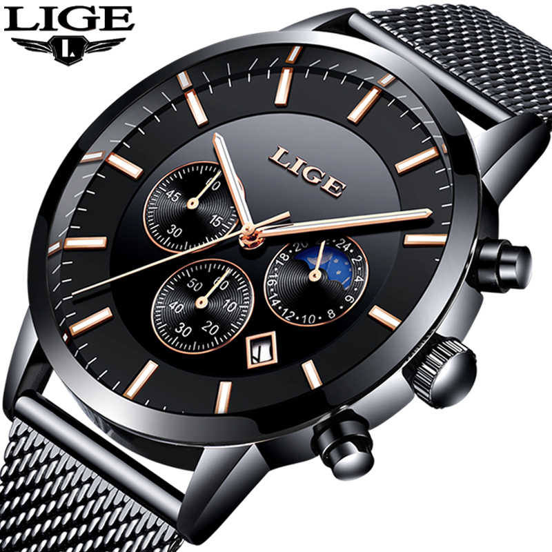 2019 LIGE Mens Watches Top Brand Luxury Men's Military Sports Watch Men Casual Waterproof Quartz Wristwatch Relogio Masculino