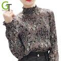 2017 Осень Мода Раффлед Шеи Шифон Блузки Свободные Женщины Шифон Упругой Блузка Цветочный Печати Рубашка Женщины Плиссированные Топы Blusas