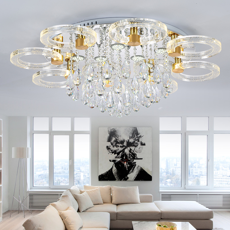 IWHD K9 Crystal Modern Ceiling Light Fixtures Tricolor dimmable Ceiling Lighting Bedroom Living Room Luminaire Plafonnier LED