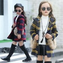 2017 Winter Girls Wool Coats Plaid Hooeded Thick Warm Jackets for Girls Winter Woolen Children's Outerwear Coats Trench Coats
