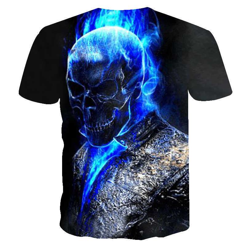 2018, мужские футболки, модные, новые, летние, мужские, короткий рукав, футболка, повседневная, 3D, синий череп, принт, рок, футболка для мужчин, полная печать