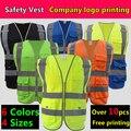 Alta visibilidade colete de segurança refletivo colete amarelo azul de malha de poliéster colete reflector impressão do logotipo da empresa frete grátis