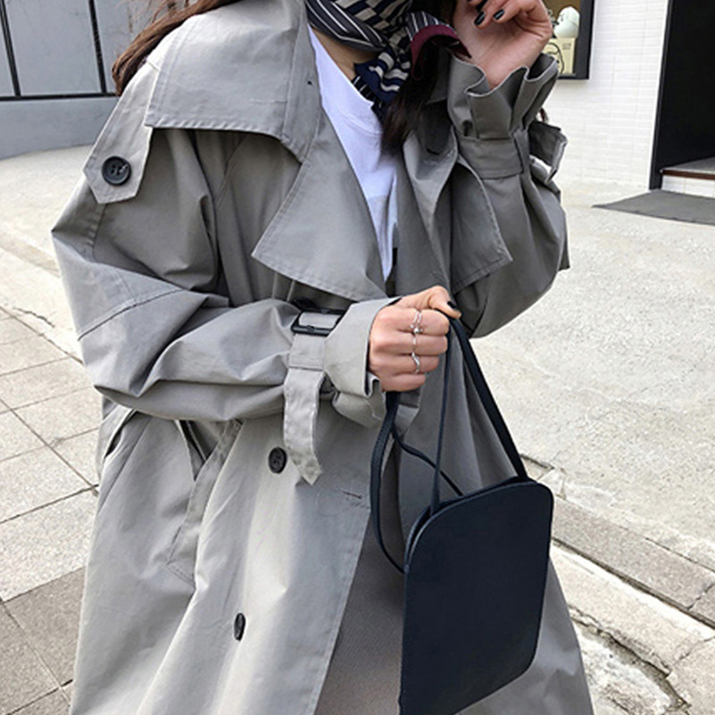 Abrigos Spring Autumn 2018 Korean Fashion Double Breasted Mid long Trench Coat Mujer Loose Belt large