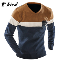 T-bird Men's Sweater 2017 Brand Cotton V Neck Men Sweater Stitching Pullover Pocket Decoration Casual Knitted Male Sweater KXSM