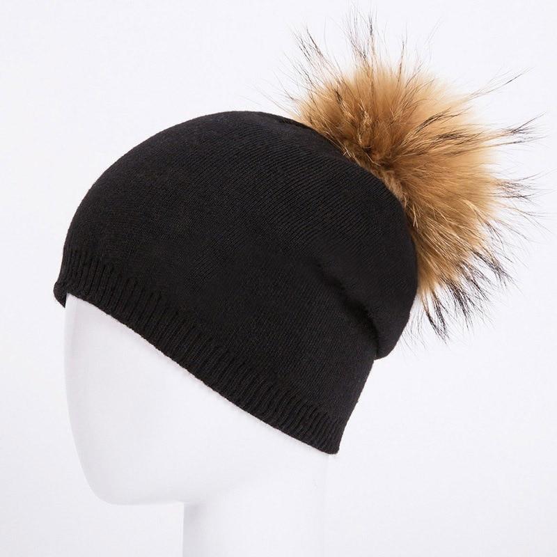 HEE GRAND/женская шапка, зимние вязаные шапки унисекс из шерсти енота, шапки с перьями для мужчин, меховая шапка куполообразная, Прямая поставка PMT089 - Цвет: Color-13