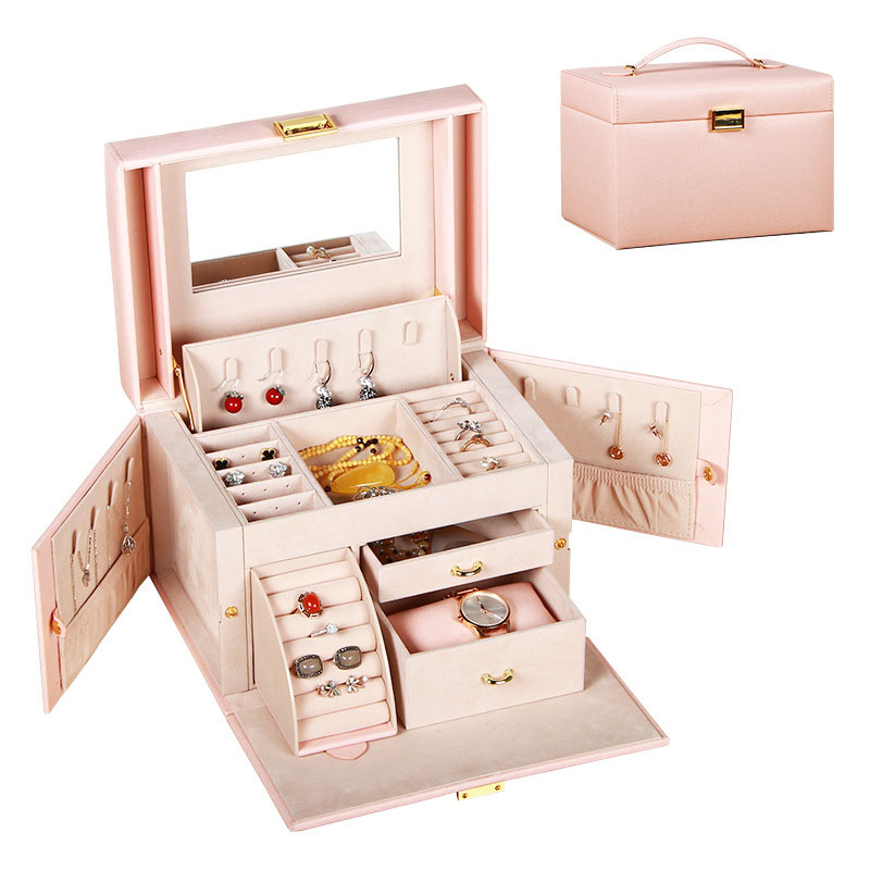 PU Leather Multi layer Jewelry Box Drawer Girls Earrings Necklace With Mirror Lock Storage Organizer Case Accessories Supplies