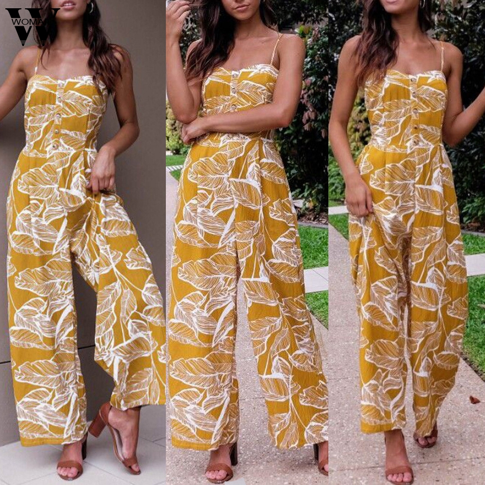Womail Bodysuit Women Summer Casual  Sleeveless Leaf Print Jumpsuit Casual Clubwear Wide Leg Outfit Jumpsuit 2019 Dropship M5