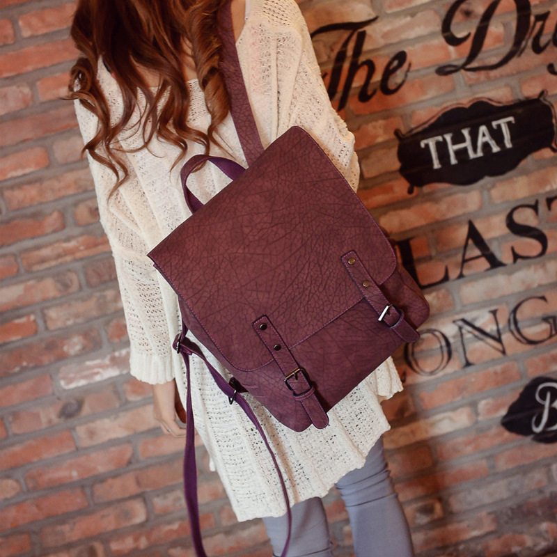 font b vintage b font high quality nubuck leather women square cover font b backpack