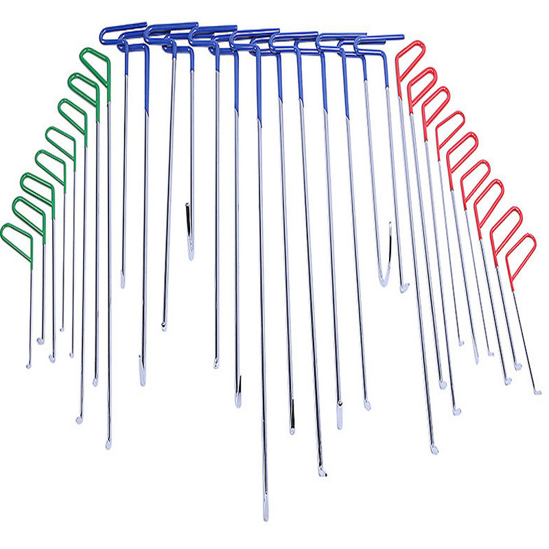30 Pcs In 1 PDR Hook Tools Push Rod Car CrowbarPaintless Dent Repair Tools PDR Dent Puller Lifter Kits Ding Hail Puller Set
