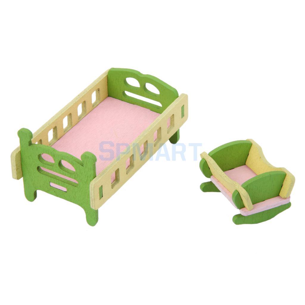 Кукольный домик мебелью Деревянные игрушки для детей спальный гарнитур