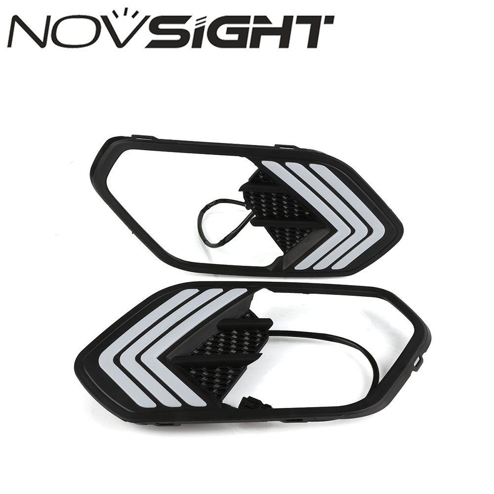 NOVSIGHT Auto Car LED DRL Driving Daytime Running Light White Yellow Turn Signal For Ford Kuga 2017 Free Shipping kingsun rear adjustable ball joint camber control suspension arm kit for 1990 1997 honda accord acura cl tl1996 1999 blue