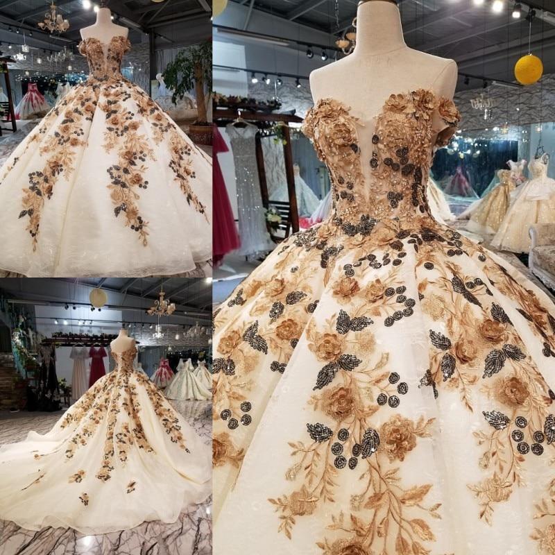 Photo réelle élégante 3d fleur robe de bal Organza sans manches longues robes de soirée 2018 avec perles longueur de plancher robe de soirée